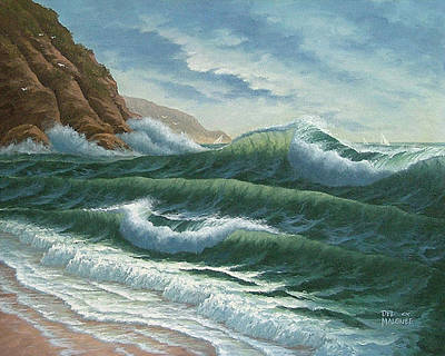 Shore Lines Painting - Breakers At Big Sur by Del Malonee