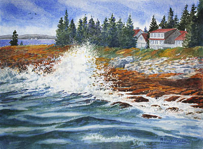 Painting - Breakers At Pemaquid by Roger Rockefeller