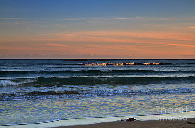 Breakers At Sunset Print by Louise Heusinkveld