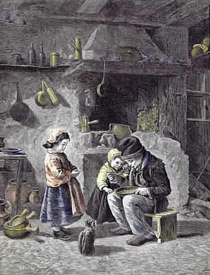 Old Home Place Drawing - Breakfast Children Kitchen Cat 1877  Children Pots Pans by English School