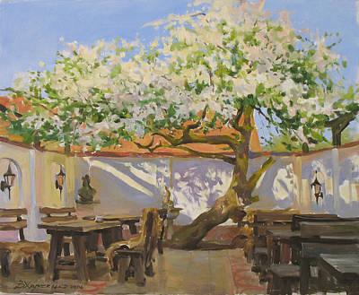 Breakfast Near An Old Apple Tree Art Print by Victoria Kharchenko