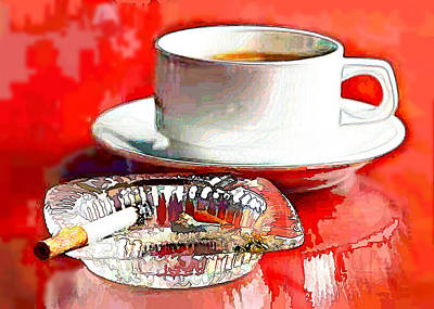 Ashtray Painting - Breakfast Of Champions by Elaine Plesser