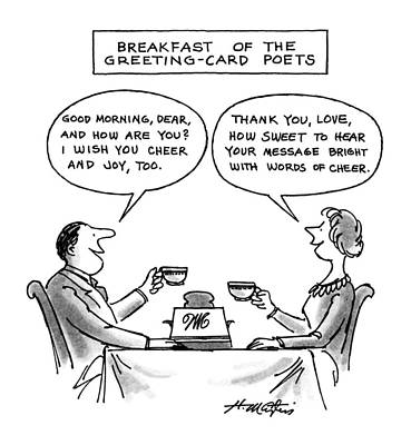 Breakfast Drawing - Breakfast Of The Greeting-card Poets by Henry Martin
