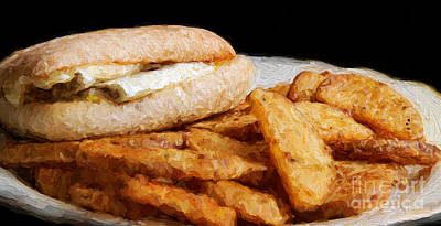 Digital Art - Breakfast Sandwich And Home Fries by Andee Design