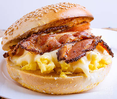 Bacon Photograph - Breakfast Sandwich by Edward Fielding