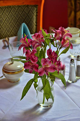 Photograph - Breakfast Table Flowers by Allen Beatty