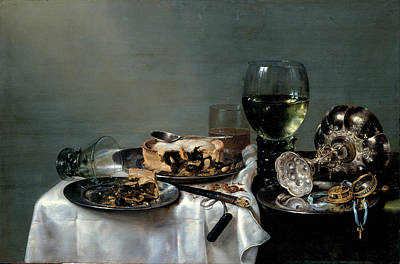 Breakfast Table With Blackberry Pie Art Print by Willem Claeszoon Heda
