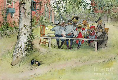 Breakfast Under The Big Birch Art Print by Carl Larsson