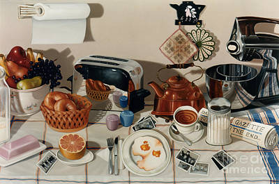 Kitchen Painting - Breakfast With The Beatles - Skewed Perspective Series by Larry Preston