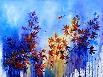 Maple Leaf Art Painting - Breaking Away by Hanne Lore Koehler
