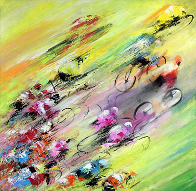 Sports Paintings - Breaking Away by Miki De Goodaboom