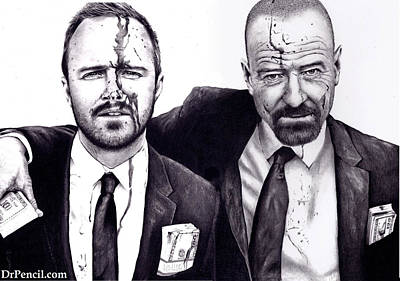 Paul Drawing - Breaking Bad - Arron And Bryan by Rick Fortson