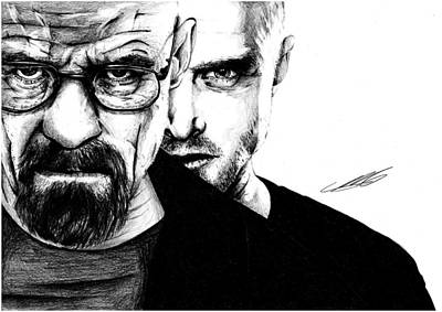 Igers Drawing - Breaking Bad Walter White And Jesse Pinkman by Mike Sarda