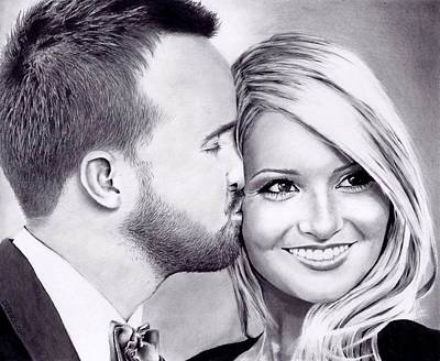Aaron Paul Drawing - Breaking Good - Aaron And Lauren Paul by Rick Fortson