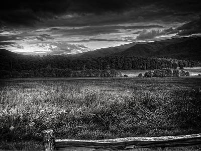 Morning Photograph - Breaking Sun In Cades Cove In Black And White by Greg and Chrystal Mimbs