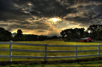 Barn Photograph - Breaking Sun In The Mountains Of North Carolina by Greg and Chrystal Mimbs