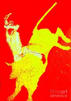 Painting - Breaking The Glass Ceiling Cowgirl Bull Rider 1  by Richard W Linford