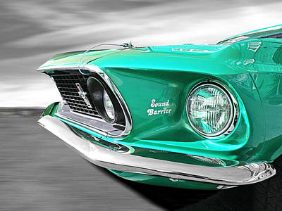 Classic Mustang Car Photograph - Breaking The Sound Barrier In Mint Green - Mach 1 428 Cobra Jet Mustang by Gill Billington