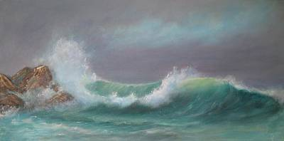 Incoming Tide Painting - Breaking Wave by Rita Palm