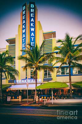 Breakwater Hotel On Ocean Drive Vintage Photograph - South Beach - Miami Beach Florida Art Print by Silvio Ligutti