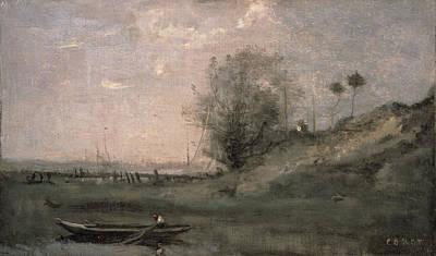 Breakwater, Normandy Art Print by Jean Baptiste Camille Corot