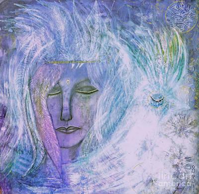 Breathing Through Feathers Art Print by Nancy TeWinkel Lauren