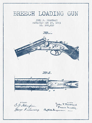 Small Digital Art - Breech Loading Gun Patent Drawing From 1883 -  Blue Ink by Aged Pixel