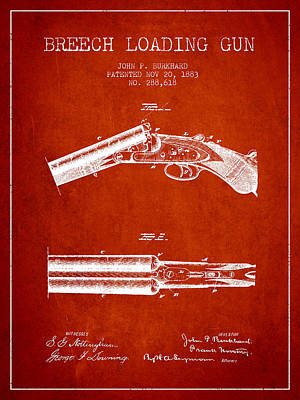 Smallmouth Bass Digital Art - Breech Loading Gun Patent Drawing From 1883 - Red by Aged Pixel