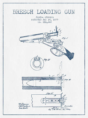 Small Digital Art - Breech Loading Shotgun Patent Drawing From 1879 -  Blue Ink by Aged Pixel