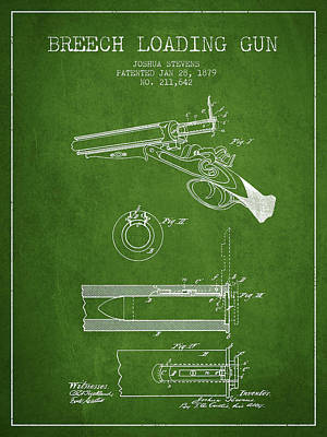 Breech Loading Shotgun Patent Drawing From 1879 - Green Art Print by Aged Pixel