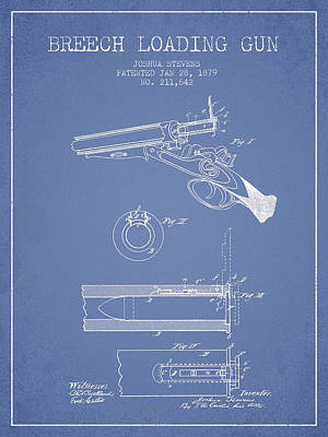 Breech Loading Shotgun Patent Drawing From 1879 - Light Blue Art Print by Aged Pixel