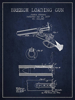 Breech Loading Shotgun Patent Drawing From 1879 - Navy Blue Art Print by Aged Pixel