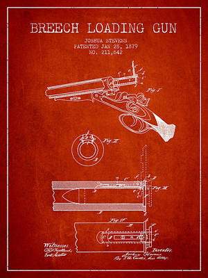 Breech Loading Shotgun Patent Drawing From 1879 - Red Art Print by Aged Pixel