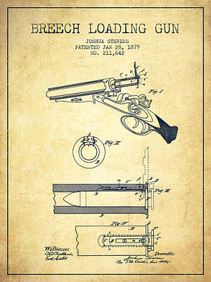 Arm Digital Art - Breech Loading Shotgun Patent Drawing From 1879 - Vintage by Aged Pixel