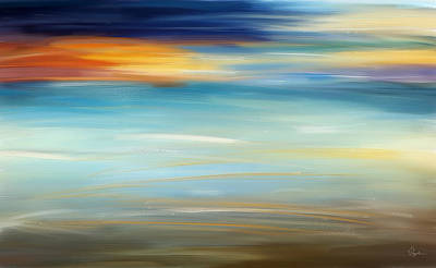Sunset Abstract Painting - Breeze-seascapes Abstract Art by Lourry Legarde