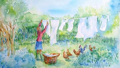 Washday Painting - Breezy Day  -great Drying Out by Trudi Doyle