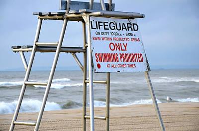 Breezy Lifeguard Chair Art Print by Maureen E Ritter