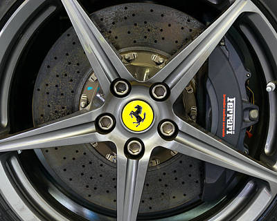 Ceramic Disk Photograph - Brembo Carbon Ceramic Brake On A Ferrari F12 Berlinetta by Dutourdumonde Photography