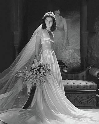 Satin Dress Photograph - Brenda Frazier In A Herman Patrick Tappe Wedding by Horst P. Horst