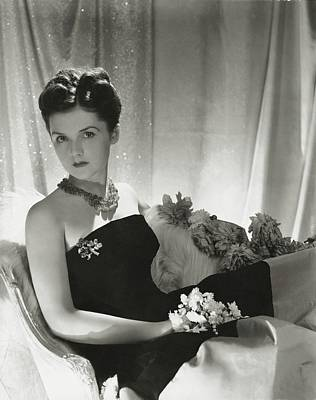Black Curly Hair Photograph - Brenda Frazier Wears A Strapless Velvet Dress by Horst P. Horst