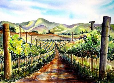 Reflection Harvest Painting - Brenda's Vineyard In Lompoc California  by Candy Yu