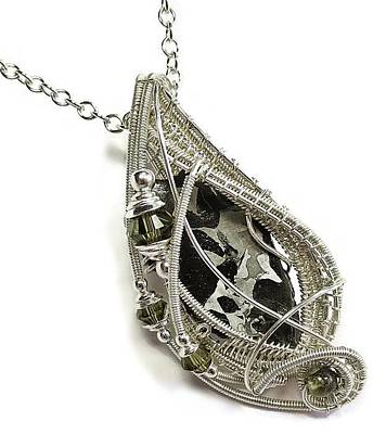 Sterling Silver Jewelry - Brenham Pallasite Meteorite Pendant In Sterling Silver With Swarovski Crystal And Peridot -pmpss11 by Heather Jordan