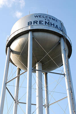 Big Belly Photograph - Brenham Texas Water Tower  by Connie Fox