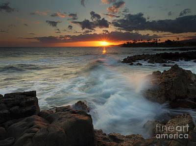 Poipu Photograph - Brennecke Wave Breaking by Mike Dawson