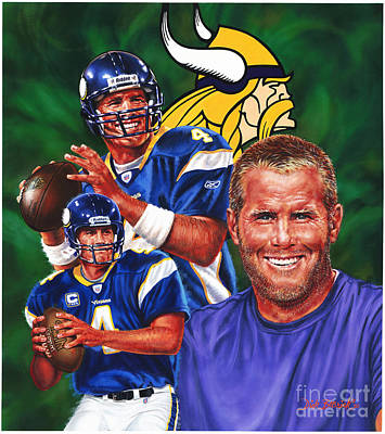 Painting - Bret Favre by Dick Bobnick