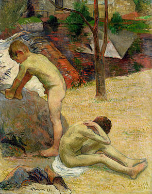 Breton Painting - Breton Boys Bathing by Paul Gauguin