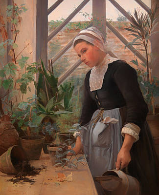 Antique Look Painting - Breton Girl Looking After Plants In The Hothouse by Mountain Dreams
