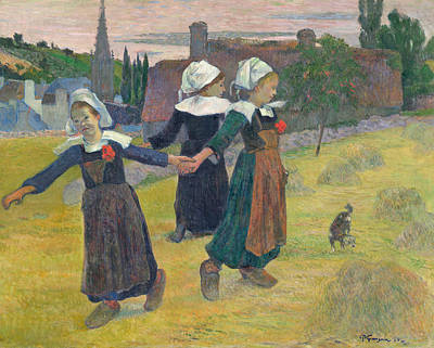 Breton Painting - Breton Girls Dancing by Paul Gauguin