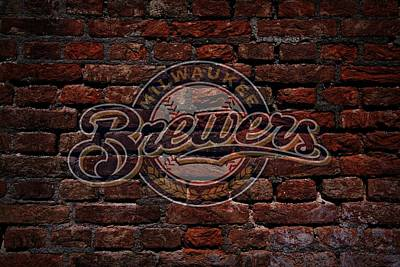 Cabin Wall Digital Art - Brewers Baseball Graffiti On Brick  by Movie Poster Prints
