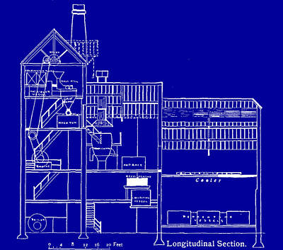 Drawing - Brewery Blueprint by